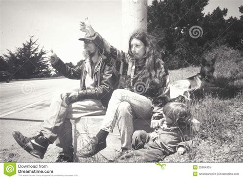 A Hippie Family Hitchhiking On Highway 1 Editorial Image