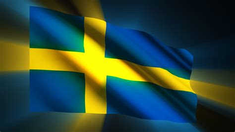 Swedish Flag Waving In Wind With Clouds In Background