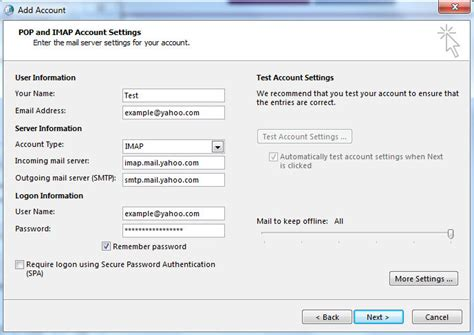 Yahoo Mail SMTP and IMAP or POP3 server client software