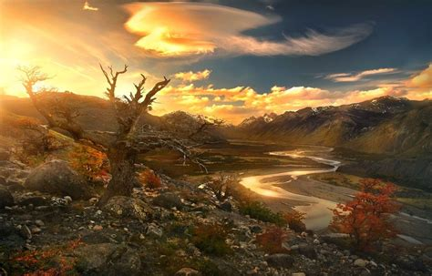 nature, Landscape, River, Sunset, Mountain, Valley, Trees