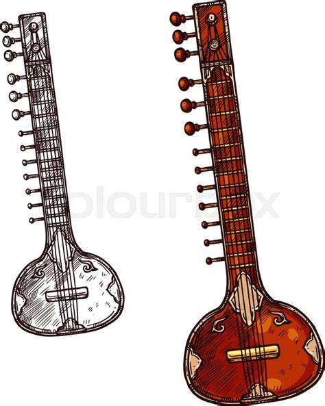 Indian musical instrument sitar isolated sketch