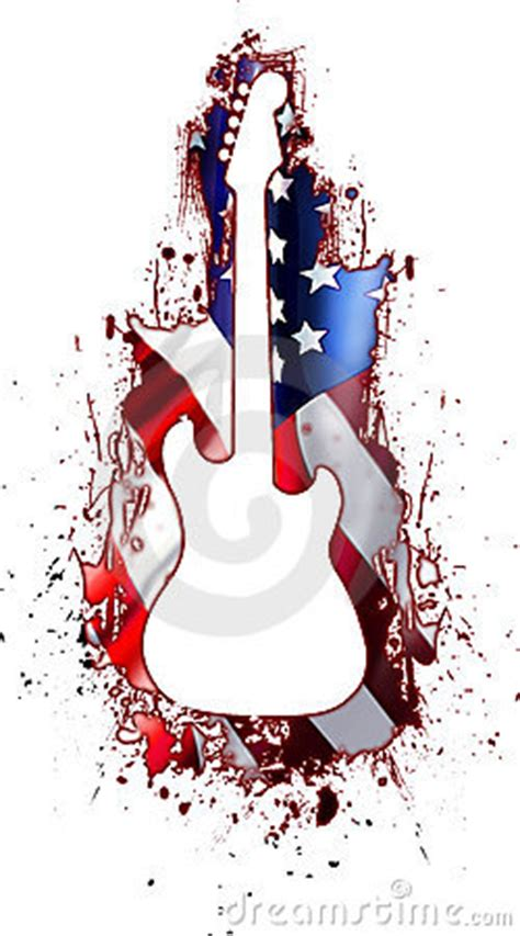 White Guitar Silhouette USA Rock Stock Images - Image: 9279334